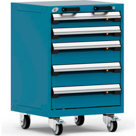 """Rousseau Metal 5 Drawer Heavy-Duty Mobile Modular Drawer Cabinet - 24""""Wx21""""Dx35-1/4""""H Everest Blue"""