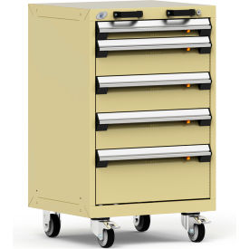 "Rousseau Metal 5 Drawer Heavy-Duty Mobile Modular Drawer Cabinet - 24""Wx21""Dx39-1/4""H Beige"