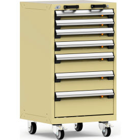 """Rousseau Metal 7 Drawer Heavy-Duty Mobile Modular Drawer Cabinet - 24""""Wx21""""Dx43-1/4""""H Red"""