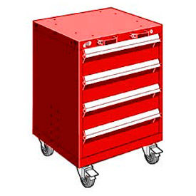 """Rousseau Metal 4 Drawer Heavy-Duty Mobile Modular Drawer Cabinet - 24""""Wx27""""Dx33-1/4""""H Red"""