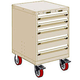 """Rousseau Metal 5 Drawer Heavy-Duty Mobile Modular Drawer Cabinet - 24""""Wx27""""Dx37-1/2""""H Beige"""