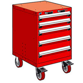 """Rousseau Metal 5 Drawer Heavy-Duty Mobile Modular Drawer Cabinet - 24""""Wx27""""Dx37-1/2""""H Red"""
