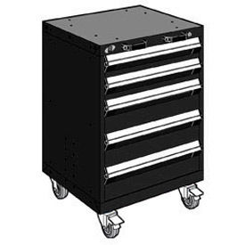 "Rousseau Metal 5 Drawer Heavy-Duty Mobile Modular Drawer Cabinet - 24""Wx27""Dx35-1/4""H Black"