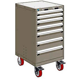 """Rousseau Metal 7 Drawer Heavy-Duty Mobile Modular Drawer Cabinet - 24""""Wx27""""Dx45-1/2""""H Light Gray"""