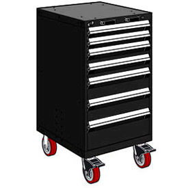 "7 Drawer Heavy-Duty Mobile Cabinet - 24""Wx27""Dx45-1/2""H Black"