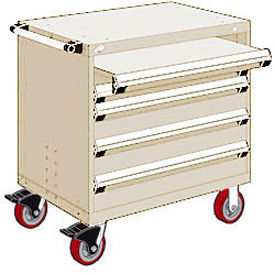 """Rousseau Metal 4 Drawer Heavy-Duty Mobile Modular Drawer Cabinet - 30""""Wx27""""Dx37-1/2""""H Beige"""
