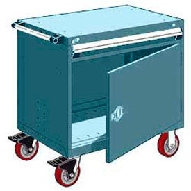 """Rousseau Metal 1 Drawer Heavy-Duty Mobile Modular Drawer Cabinet - 36""""Wx18""""Dx35-1/2""""H Everest Blue"""