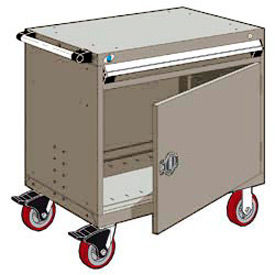 """Rousseau Metal 1 Drawer Heavy-Duty Mobile Modular Drawer Cabinet - 36""""Wx18""""Dx35-1/2""""H Light Gray"""
