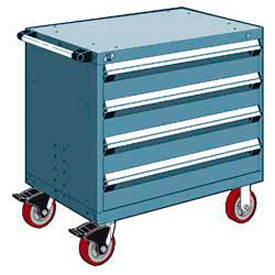 """Rousseau Metal 4 Drawer Heavy-Duty Mobile Modular Drawer Cabinet - 36""""Wx18""""Dx35-1/2""""H Everest Blue"""