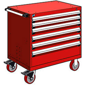 """Rousseau Metal 6 Drawer Heavy-Duty Mobile Modular Drawer Cabinet - 36""""Wx18""""Dx37-1/2""""H Red"""