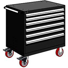 "Rousseau Metal 6 Drawer Heavy-Duty Mobile Modular Drawer Cabinet - 36""Wx18""Dx37-1/2""H Black"