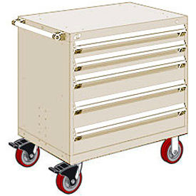 """Rousseau Metal 5 Drawer Heavy-Duty Mobile Modular Drawer Cabinet - 36""""Wx18""""Dx37-1/2""""H Beige"""