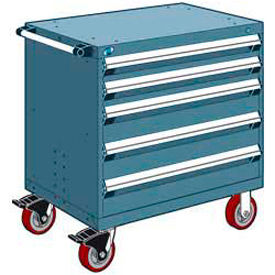 """Rousseau Metal 5 Drawer Heavy-Duty Mobile Modular Drawer Cabinet - 36""""Wx18""""Dx37-1/2""""H Everest Blue"""