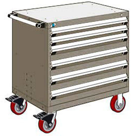 """Rousseau Metal 6 Drawer Heavy-Duty Mobile Modular Drawer Cabinet - 36""""Wx18""""Dx37-1/2""""H Light Gray"""