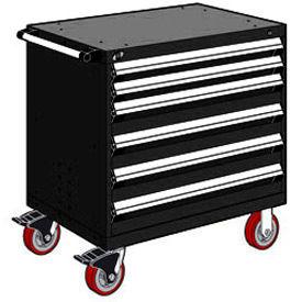 "Rousseau Metal 6 Drawer Heavy-Duty Mobile Modular Drawer Cabinet - 36""Wx18""Dx37-1/2""H Black"