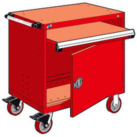 """Rousseau Metal Heavy-Duty Mobile Modular Drawer Cabinet - 36""""Wx18""""Dx37-1/2""""H Red"""