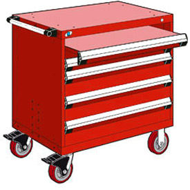 """Rousseau Metal 4 Drawer Heavy-Duty Mobile Modular Drawer Cabinet - 36""""Wx18""""Dx37-1/2""""H Red"""