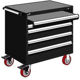"Rousseau Metal 4 Drawer Heavy-Duty Mobile Modular Drawer Cabinet - 36""Wx18""Dx37-1/2""H Black"