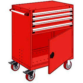 """Rousseau Metal 4 Drawer Heavy-Duty Mobile Modular Drawer Cabinet - 36""""Wx18""""Dx45-1/2""""H Red"""