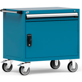 """Rousseau Metal 1 Drawer Heavy-Duty Mobile Modular Drawer Cabinet - 36""""Wx24""""Dx35-1/2""""H Everest Blue"""