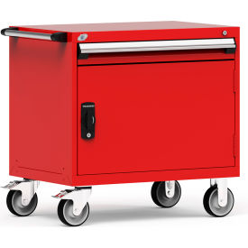 """Rousseau Metal 1 Drawer Heavy-Duty Mobile Modular Drawer Cabinet - 36""""Wx24""""Dx35-1/2""""H Red"""
