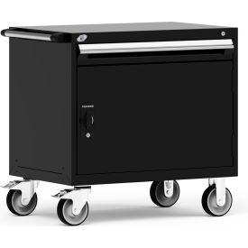 "Rousseau Metal 1 Drawer Heavy-Duty Mobile Modular Drawer Cabinet - 36""Wx24""Dx35-1/2""H Black"