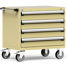 """Rousseau Metal 4 Drawer Heavy-Duty Mobile Modular Drawer Cabinet - 36""""Wx24""""Dx35-1/2""""H Beige"""