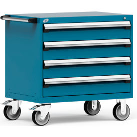 """Rousseau Metal 4 Drawer Heavy-Duty Mobile Modular Drawer Cabinet - 36""""Wx24""""Dx35-1/2""""H Everest Blue"""