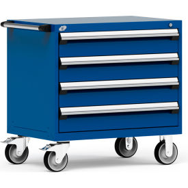 """Rousseau Metal 4 Drawer Heavy-Duty Mobile Modular Drawer Cabinet - 36""""Wx24""""Dx35-1/2""""H Avalanche Blue"""