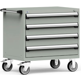 """Rousseau Metal 4 Drawer Heavy-Duty Mobile Modular Drawer Cabinet - 36""""Wx24""""Dx35-1/2""""H Light Gray"""