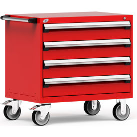 """Rousseau Metal 4 Drawer Heavy-Duty Mobile Modular Drawer Cabinet - 36""""Wx24""""Dx35-1/2""""H Red"""