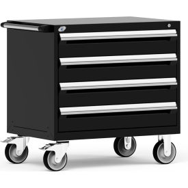 "Rousseau Metal 4 Drawer Heavy-Duty Mobile Modular Drawer Cabinet - 36""Wx24""Dx35-1/2""H Black"