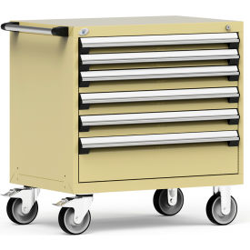"""Rousseau Metal 6 Drawer Heavy-Duty Mobile Modular Drawer Cabinet - 36""""Wx24""""Dx37-1/2""""H Beige"""