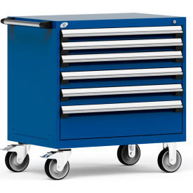 "Rousseau Metal 6 Drawer Heavy-Duty Mobile Modular Drawer Cabinet - 36""Wx24""Dx37-1/2""H Avalanche Blue"