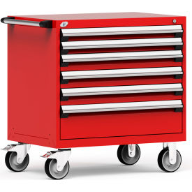 """Rousseau Metal 6 Drawer Heavy-Duty Mobile Modular Drawer Cabinet - 36""""Wx24""""Dx37-1/2""""H Red"""
