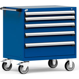 """Rousseau Metal 5 Drawer Heavy-Duty Mobile Modular Drawer Cabinet - 36""""Wx24""""Dx37-1/2""""H Avalanche Blue"""