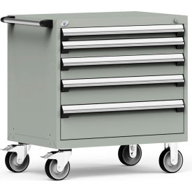 "Rousseau Metal 5 Drawer Heavy-Duty Mobile Modular Drawer Cabinet - 36""Wx24""Dx37-1/2""H Light Gray"