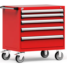 """Rousseau Metal 5 Drawer Heavy-Duty Mobile Modular Drawer Cabinet - 36""""Wx24""""Dx37-1/2""""H Red"""