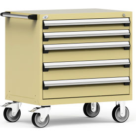 """Rousseau Metal 5 Drawer Heavy-Duty Mobile Modular Drawer Cabinet - 36""""Wx24""""Dx37-1/2""""H Beige"""