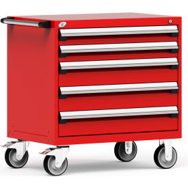 "Rousseau Metal 5 Drawer Heavy-Duty Mobile Modular Drawer Cabinet - 36""Wx24""Dx37-1/2""H Red"