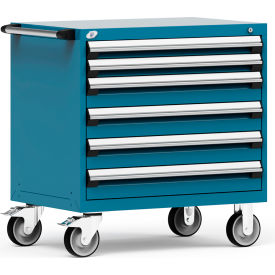 """Rousseau Metal 6 Drawer Heavy-Duty Mobile Modular Drawer Cabinet - 36""""Wx24""""Dx37-1/2""""H Everest Blue"""