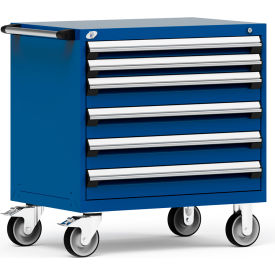 """Rousseau Metal 6 Drawer Heavy-Duty Mobile Modular Drawer Cabinet - 36""""Wx24""""Dx37-1/2""""H Avalanche Blue"""