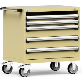 """Rousseau Metal 4 Drawer Heavy-Duty Mobile Modular Drawer Cabinet - 36""""Wx24""""Dx37-1/2""""H Beige"""