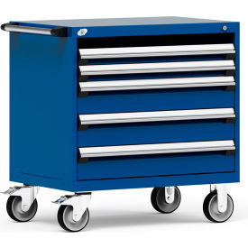 """Rousseau Metal 4 Drawer Heavy-Duty Mobile Modular Drawer Cabinet - 36""""Wx24""""Dx37-1/2""""H Avalanche Blue"""