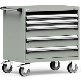 """Rousseau Metal 4 Drawer Heavy-Duty Mobile Modular Drawer Cabinet - 36""""Wx24""""Dx37-1/2""""H Light Gray"""