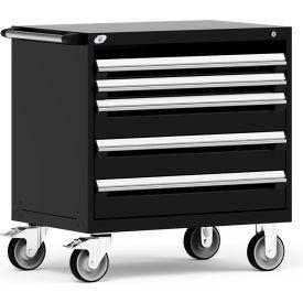 "Rousseau Metal 4 Drawer Heavy-Duty Mobile Modular Drawer Cabinet - 36""Wx24""Dx37-1/2""H Black"