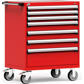 """Rousseau Metal 7 Drawer Heavy-Duty Mobile Modular Drawer Cabinet - 36""""Wx24""""Dx45-1/2""""H Red"""