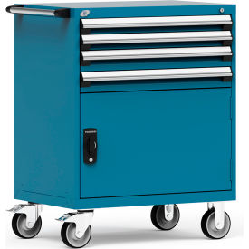 """Rousseau Metal 4 Drawer Heavy-Duty Mobile Modular Drawer Cabinet - 36""""Wx24""""Dx45-1/2""""H Everest Blue"""
