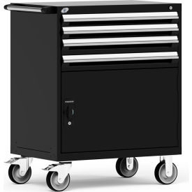 "Rousseau Metal 4 Drawer Heavy-Duty Mobile Modular Drawer Cabinet - 36""Wx24""Dx45-1/2""H Black"