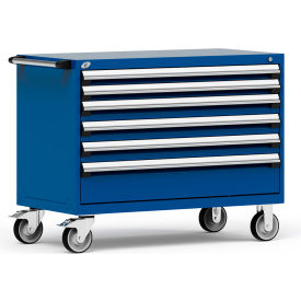 """Rousseau Metal 6 Drawer Heavy-Duty Mobile Modular Drawer Cabinet - 48""""Wx24""""Dx37-1/2""""H Avalanche Blue"""